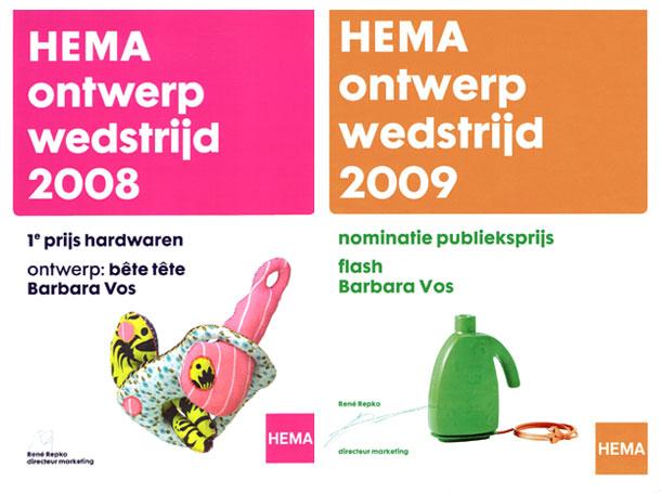Barbara Vos | Hema Ontwerp Wedstrijd, prijs 2008 & 2009
